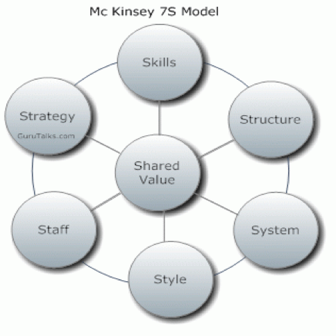 Mc Kinsey 7S Model - Skills, Structure, System, Style, Staff, Strategy, Shared Value